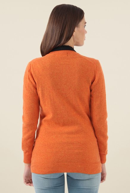 Monte Carlo Orange Solid Cardigan