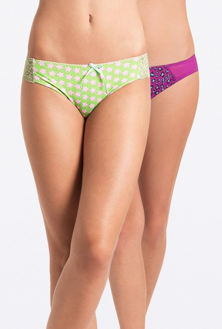 PrettySecrets Lime & Purple Bikini Panties (Pack Of 2)