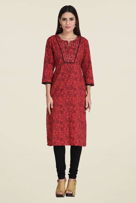 Indi Dori Red Printed Kurta