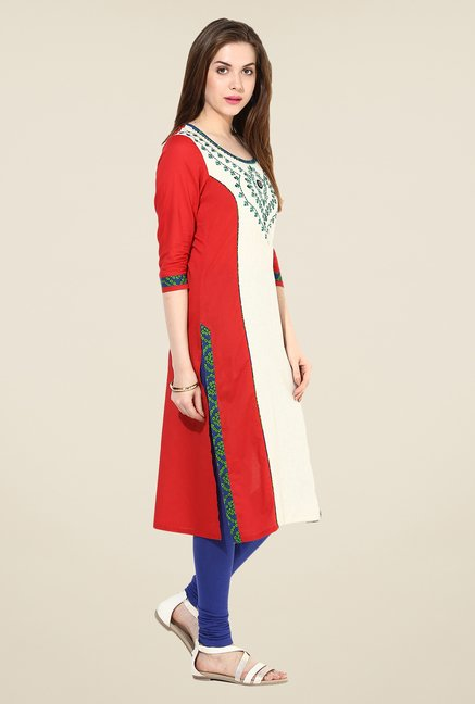 Indi Dori Beige Embroidered Kurta