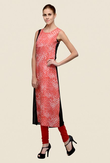 Indi Dori Orange Printed Kurta