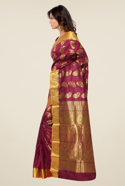 Janasya Magenta Printed Kanchipuram Art Silk Saree