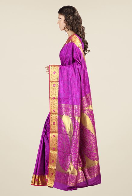 Janasya Purple Printed Kanchipuram Silk Saree