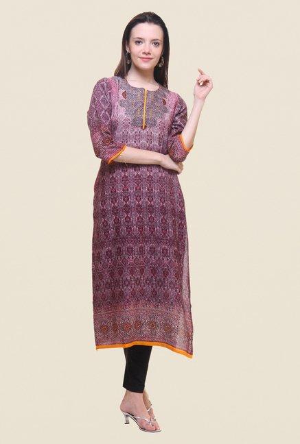 6c0a4d07b7 Buy Shree Maroon Printed Kurta for Women Online @ Tata CLiQ