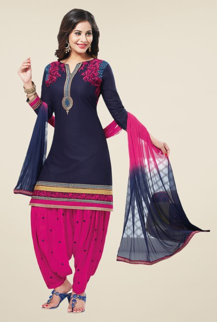 Salwar Studio Navy & Pink Unstitched Patiala Suit