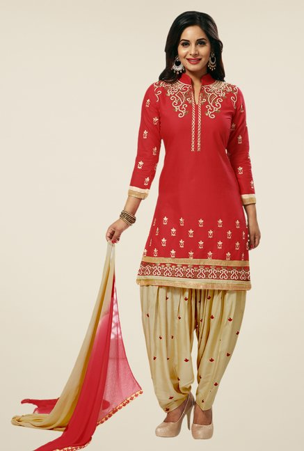Salwar Studio Red & Beige Unstitched Patiala Suit