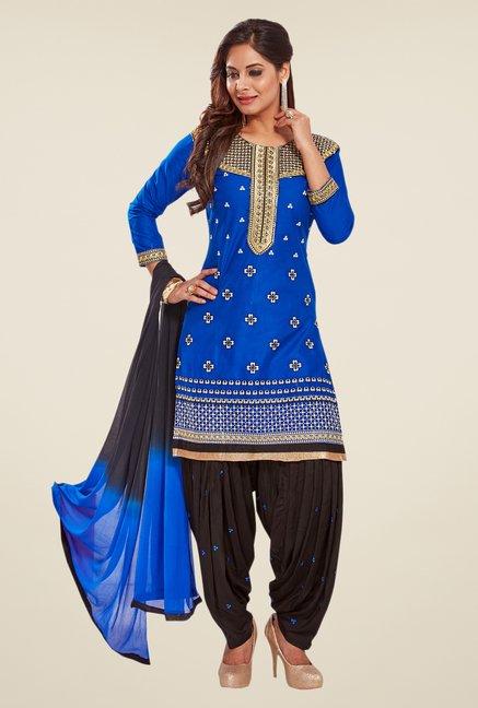 Salwar Studio Blue & Black Unstitched Patiala Suit