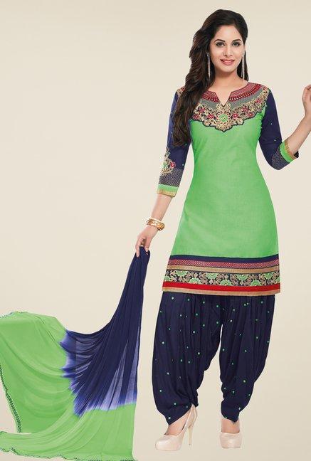 Salwar Studio Green & Navy Unstitched Patiala Suit