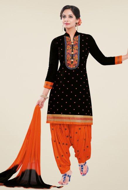 Salwar Studio Black & Orange Unstitched Patiala Suit