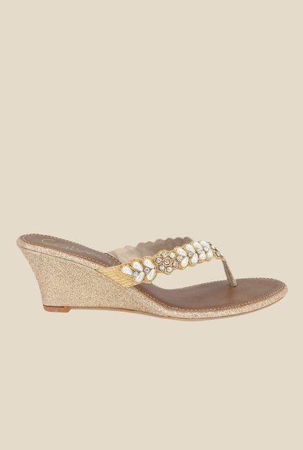 62f91b99655990 Buy Catwalk Golden Wedge Heeled Thong Sandals for Women at Best ...