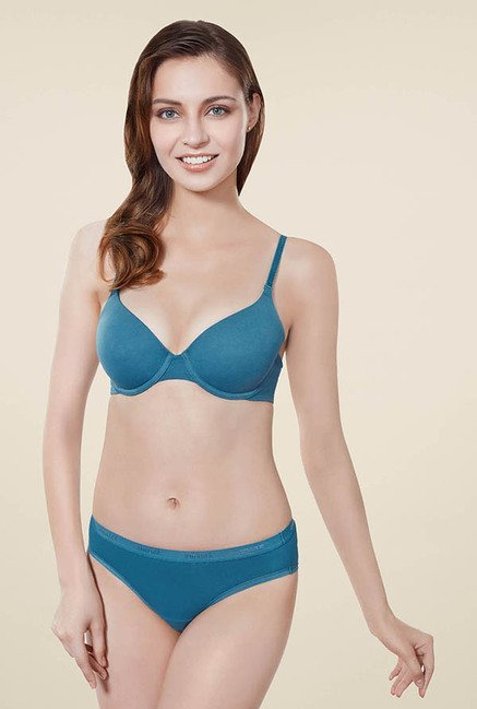 Amante Teal Solid T-shirt Bra