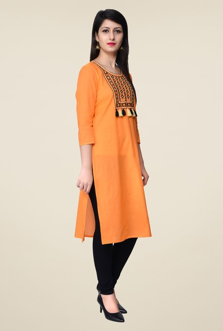 Juniper Orange Embroidered Kurta