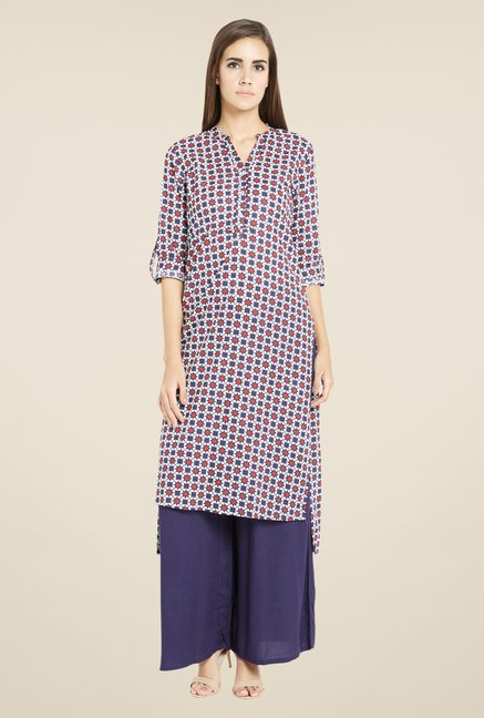 Globus Red & Navy Printed Kurta