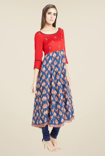 Globus Red & Blue Printed Kurta