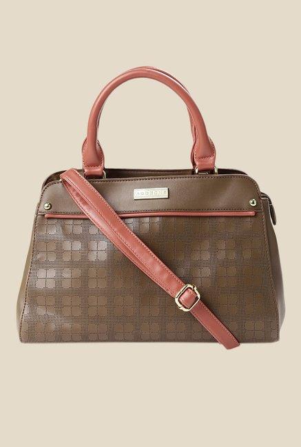 Addons Brown Textured Handbag