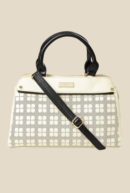 Addons Cream Textured Handbag