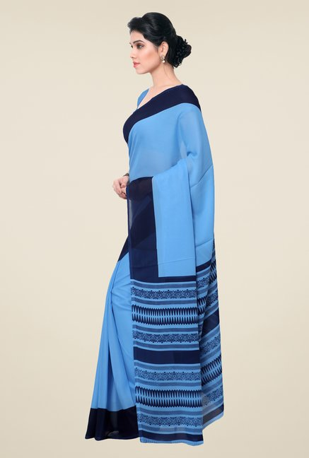 Janasya Blue Solid Georgette Saree