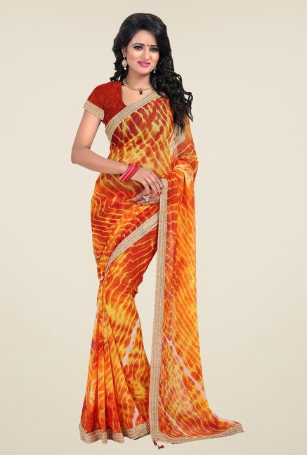 Janasya Yellow & Orange Printed Chiffon Saree