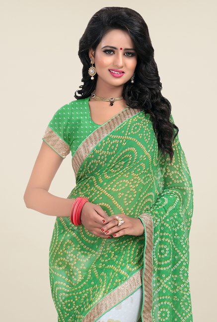 Janasya White & Green Printed Chiffon Saree