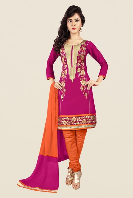 Salwar Studio Pink & Orange Embroidered Dress Material