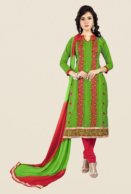 Salwar Studio Green & Red Embroidered Dress Material
