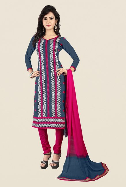 Salwar Studio Grey & Pink Embroidered Dress Material