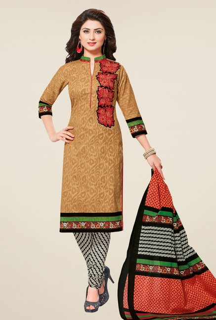 Salwar Studio Beige & Black Floral Dress Material