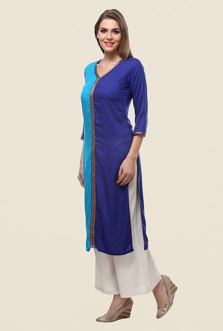 Varanga Blue Embroidered Kurta