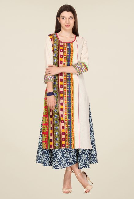 Varanga Beige Embroidered Kurta