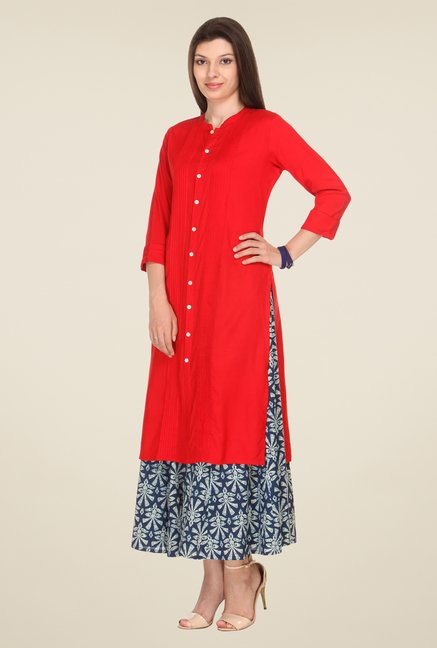 Varanga Red Solid Kurta