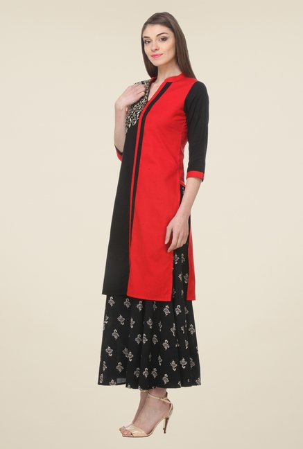 Varanga Red Embroidered Kurta