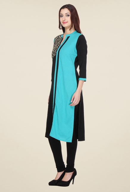 Varanga Black Embroidered Kurta