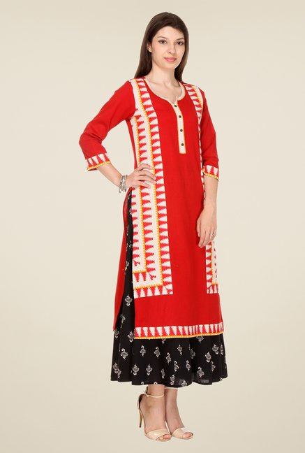 Varanga Red Printed Kurta