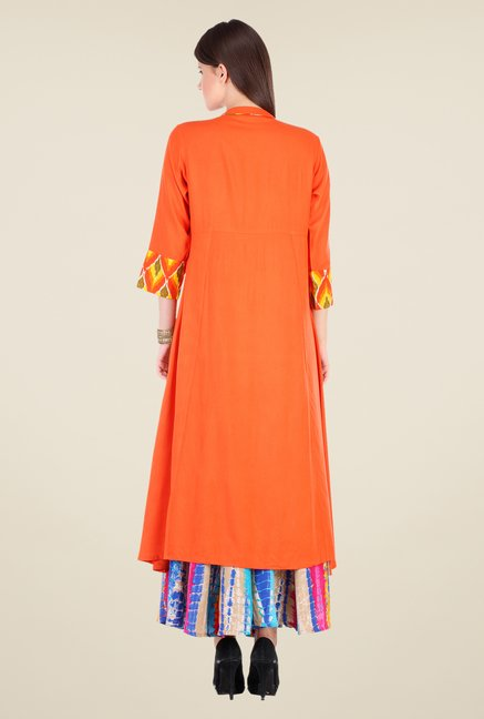 Varanga Orange Solid Kurta