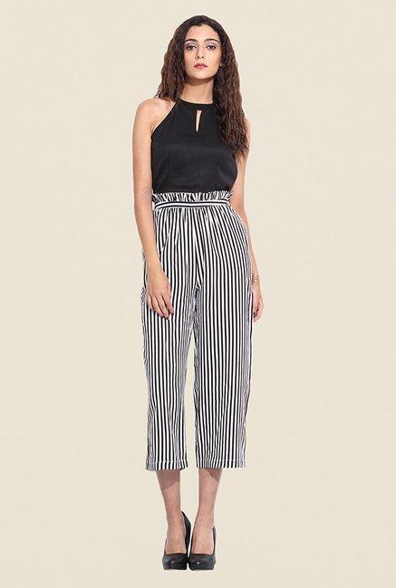 9d0a71c0d0e99 Buy Pera Doce White Striped Culottes for Women Online   Tata CLiQ