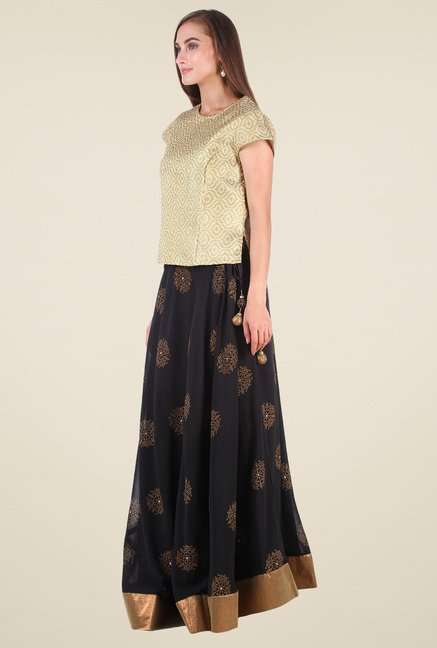 9rasa Gold & Black Printed Lehenga Set