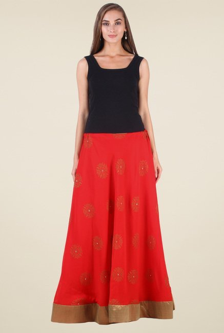 9rasa Red Printed Skirt