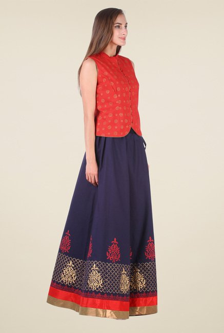 9rasa Dark Blue & Red Printed Lehenga Set