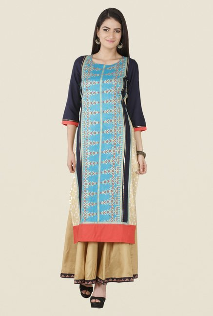W Blue & Navy Printed Kurta