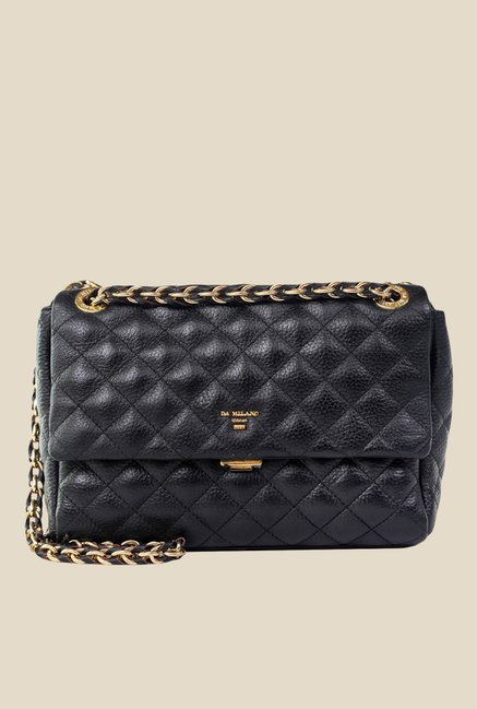 a29fce8ee4a Buy Da Milano Black Quilted Leather Sling Bag For Women At Best Price    Tata CLiQ