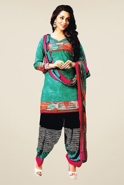 Salwar Studio Teal & Black Printed Dress Material