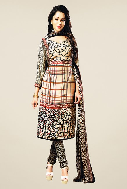 Salwar Studio Beige & Black Geometric Print Dress Material