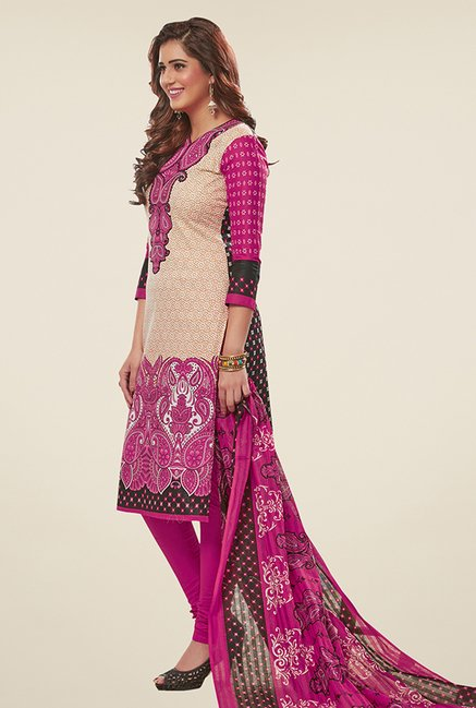 Salwar Studio Beige & Magenta Printed Dress Material