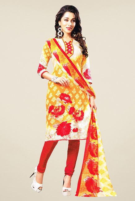 Salwar Studio Orange & Red Printed Dress Material