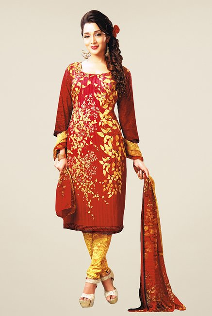 Salwar Studio Red & Beige Printed Dress Material