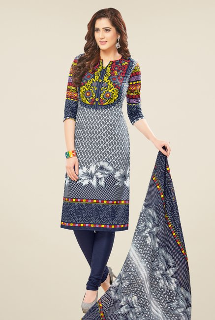 Salwar Studio Grey Printed Dress Material