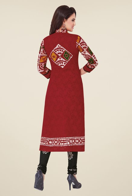 Salwar Studio Red & Black Batik Print Dress Material
