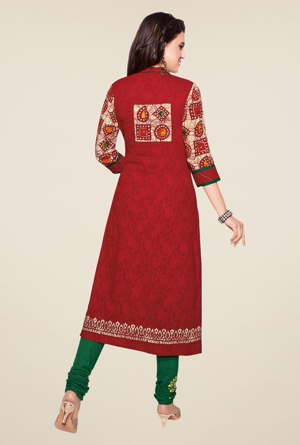 Salwar Studio Red & Green Batik Print Dress Material