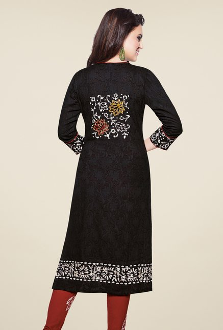 Salwar Studio Black & Brown Batik Print Dress Material