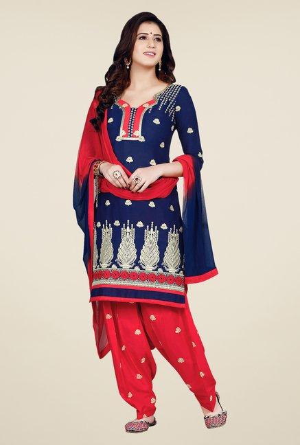 Salwar Studio Dark Blue & Coral Patiala Dress Material